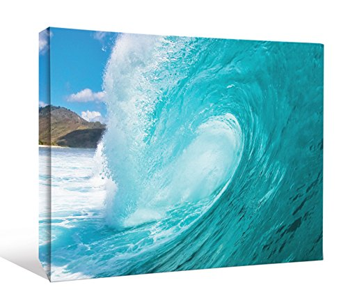 JP London Big Kahuna Sun Surf and Sand on the Blue Ocean Waves Gallery Wrap Heavyweight Canvas Art Wall Decor, 1.5' High by 2' Wide ()
