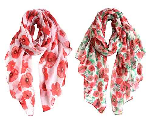 (GERINLY 2 Pack Lightweight Poppy Flower Print Oblong Shawl Scarf (2 PCS))