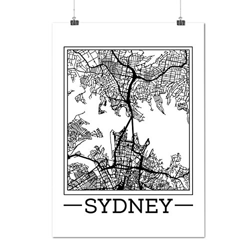 Australia Sydney Map Big City Matte/Glossy Poster A4 (9x12 inches) | - Shop Sydney Sunglasses