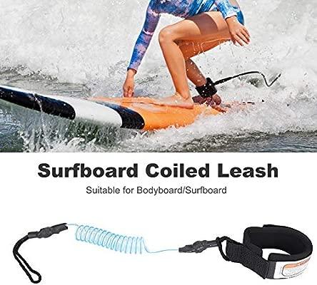 Correa de Sup en Espiral, Correa de Tabla de Surf, 5mm Correa de Pierna Enrollada, Primavera Pierna pie Cuerda Correa de Surf para Surf Y Tabla de ...