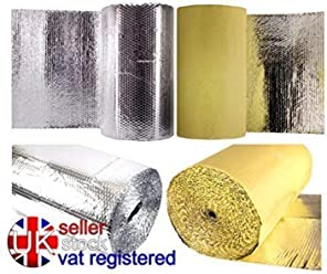 1m x 5m Double Bubble Foil 6mm Thermal Insulation Van Reflective Silver Camper Business, Office & Industrial Insulation