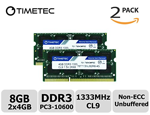 Timetec Hynix IC 8GB KIT (2x4GB) DDR3 1333MHz PC3-10600 Non ECC Unbuffered 1.5V CL9 2Rx8 Dual Rank 204 Pin Sodimm Laptop Notebook Computer Memory Ram Module Upgrade (Low Density 8GB - Aopen Pc Components Mini