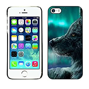 Paccase / SLIM PC / Aliminium Casa Carcasa Funda Case Cover para - Wolf Magical Winter Northern Lights Sky - Apple Iphone 5 / 5S