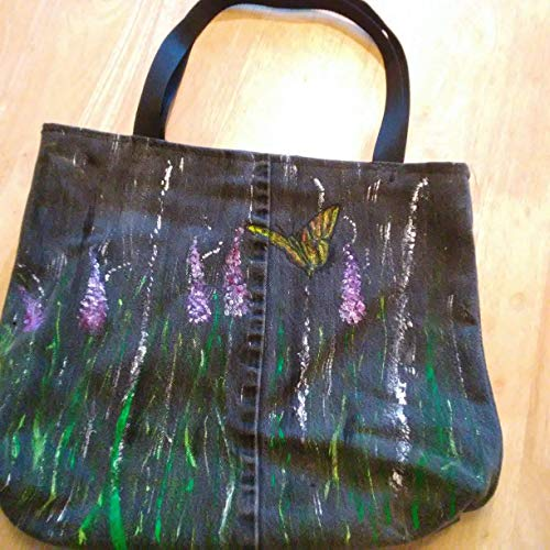 Cute Denim Black Jean Shoulder Bag Purse Tote Butterfly, Frog & Lavender theme