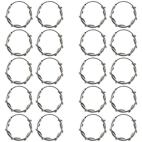 10 Pairs Sterling Silver Rope Wire Wrapped Endless Hoop Earrings 1 mm thin tube 5/8 inch - Earrings Wrapped Rope Hoop