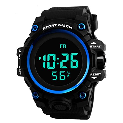 Outdoor Digital Sports Watch Military Waterproof Stopwatch Alarm Simple Army Wrist Watch LED Screen Large Face Electronic Wristwatch for Running, Climbing, Camping, Walking, Jogging - #3 ()