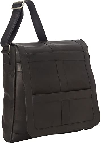 Royce Leather 16 Inch Laptop Messenger Bag in Colombian Leather, Black, One Size