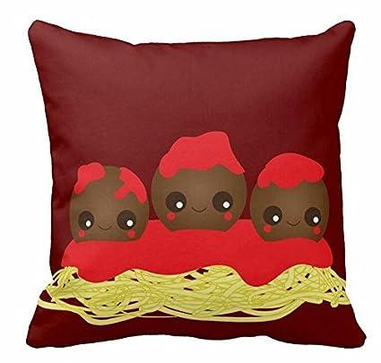 Kawaii para espaguetis y albóndigas manta funda de almohada ...