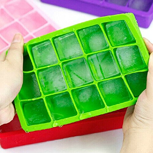 Copter shop 5 colors DIY Creative Big Ice Cube Mold Square Shape Silicone Ice Tray Fruit Ice Cube Maker Bar Kitchen Accessories ( Color: Random color. )