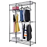 PROSPERLY U.S.Product 48''x18''x71'' Closet Organizer Garment Rack Portable Clothes Hanger Home Shelf