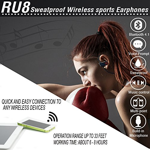 Bluetooth Sport Headphones with Mic Wireless Noise Cancelling Technology Sweatproof Stays on Over Ear Running By PHI Sports & Outdoors Exercise Earbuds Stereo Headset Workout Carrying Case Included