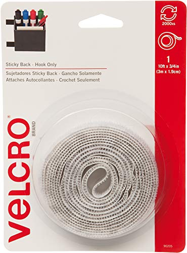 VELCRO Brand - Sticky Back Fasteners, Hook Side Only| Perfect for Home or Office |  10ft x 3/4in Tape | White