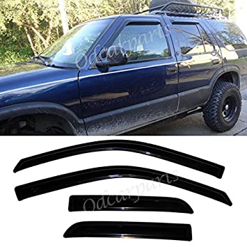 VioGi Fit 95-05 Chevy S10 Blazer 95-01 GMC S15 Jimmy 96-01 Oldsmobile  Bravada 4-Door SUV 4pcs Front + Rear Smoke Sun/Rain Guard Vent Shade Window