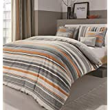 HORIZONTAL STRIPES HATCHING CROSS HATCHED ORANGE GREY CANADIAN FULL (200CM X 200CM - UK DOUBLE) DUVET COMFORTER COVER