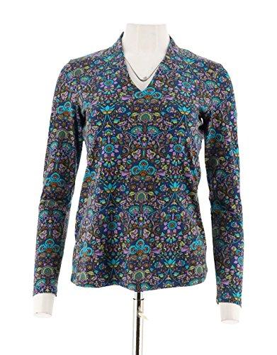 Liz Claiborne Women Clothing - Liz Claiborne NY Printed V-Neckline Knit Long Sleeves Top Blue XXS # A258108