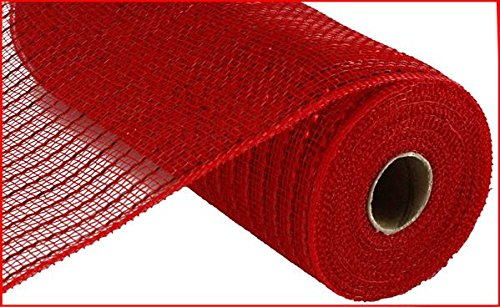Matte Wide Foil Deco Poly Mesh Ribbon, 10 Inches x 30 Feet (Matte Red) (Red Mesh Geo)