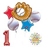 Baseball 1st Birthday Party Supplies and Balloon Bouquet Decorations
