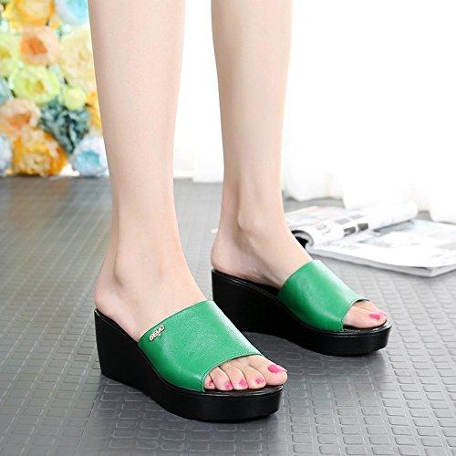 GTVERNH-Dicksohlige Schuhe Sommer Wasserdichte Taiwan 6 Ziehen Die Neigung Muffin Unten 6 Taiwan Cm Hochhackige Sandalen Sandalen Und Slipper.,40,Grüne - 1d59f4