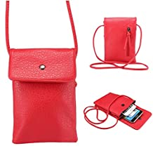 Universal Cell Phone Cross-body Purse,Large Screen Shoulder Bag Soft PU Leather Carrying Cases for Apple iPhone 6s/6 Plus iPhone 6/6s,Samsung Galaxy S6 and Note Series and Phones Under 6.1 inch-Red