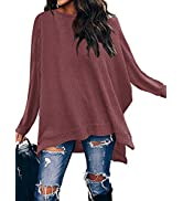 ANRABESS Women Crew Neck Batwing Sleeve High Low Hem Side Slit Waffle Knit Casual Loose Oversized...