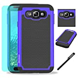 Samsung Galaxy E5 / E500 Case, INNOVAA Anti-Slip Shockproof Soft Silicone Dual-Layer Durable Armor Case W/ Free Screen Protector & Touch Screen Stylus Pen - Black/Blue
