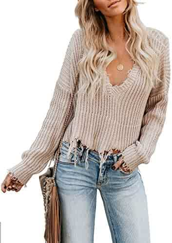S-XL CILKOO Womens Womens Casual Long Sleeve Criss Cross Twist Knot Backless Pullover Knitted Sweater