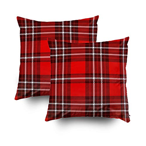 Musesh Pack of 2 Christmas Plaid Check Pattern Fabric Texture Cushions Case Throw Pillow Cover for Sofa Home Decorative Pillowslip Gift Ideas Household Pillowcase Zippered Pillow Covers 20x20Inch
