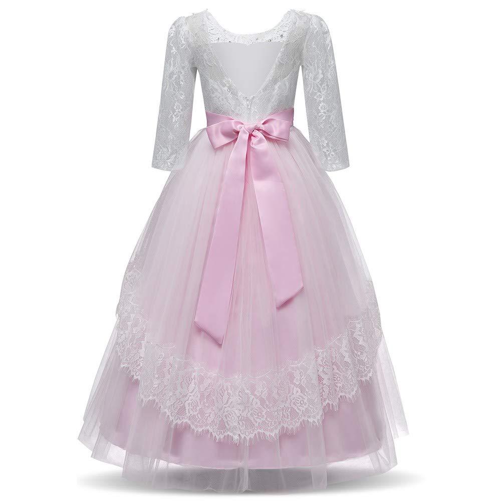 2b9015ad748 Amazon.com  KONFA Teen Girls Bowknot Lace Floral Party Dress