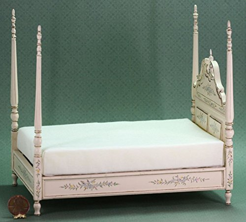 Dollhouse Miniature Ornate Blue & Cream 4 Post Bed by Dollhouse Miniature