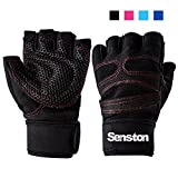 Senston Weight Lifting Gym Fitness Glove with Wrist Wrap and Grip - For Men's and Women's - Half-Finger Design Padded Breathable Washable Quality Material