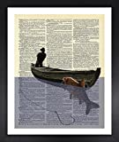 coffee bar wall decal - Handmade Kitchen Wall Fisherman In The Boat Picture Dictionary Print Vintage 8x10 Upcycled Abstract For Home Decor Decorations For Living Room Bedroom Office Ready-to-Frame
