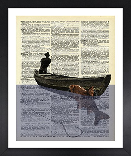 Handmade Kitchen Wall Fisherman In The Boat Picture Dictionary Print Vintage 8x10 Upcycled Abstract For Home Decor Decorations For Living Room Bedroom Office Ready-to-Frame