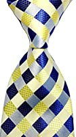 Scott Alone : New Classic Yellow Dark Blue Gray 100% New Jacquard Woven Silk Men's Tie Necktie