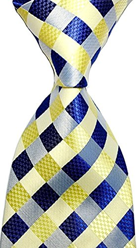 Scott Alone : New Classic Yellow Dark Blue Gray 100% New Jacquard Woven Silk Men's Tie Necktie -