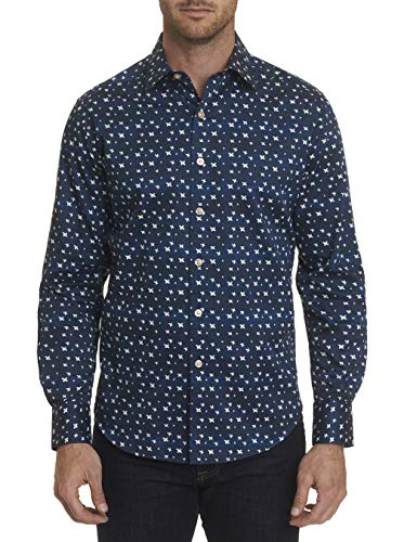 Robert Graham Tesoro L/S Printed Woven Shirt Classic Fit Navy 2Xlarge ()