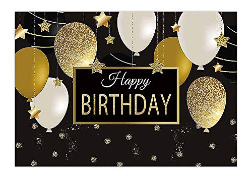 Allenjoy 7x5ft Happy Birthday Backdrop with Black Gold Balloons for Adult Photography Golden Glitter Sparkling Stars Men Women Bday Party Background Photo Booth Props