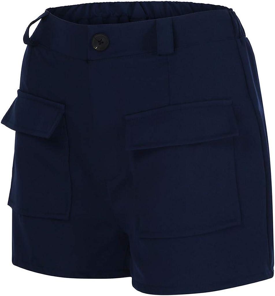 BODOAO Women Pockets Shorts High Waist Short Pants Casual Beach Shorts