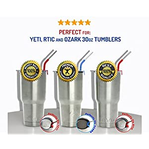 Stainless Steel Metal Straws for YETI, RTIC and OZARK Tumblers Cups fit 30 oz & 20 oz. Multicolor Silicone Clips (4-Pack). Premium Dishwasher Safe, Extra Long, Ergonomically Bent - by PrimeStraws