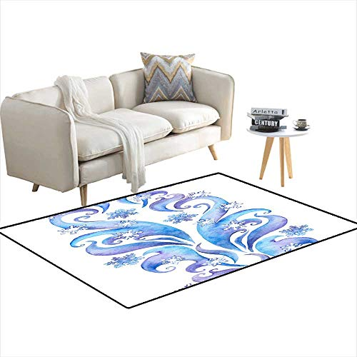 Room Home Bedroom Carpet Floor Mat Repeating Winter Border Frame Watercolor Ornamental Stripe 48
