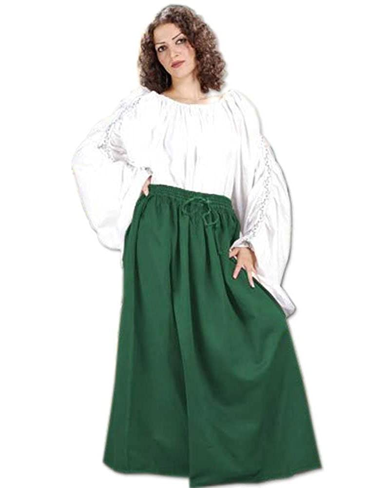 Women's Classic Renaissance Medieval Green Cotton Wench Skirt by ThePirateDressing - DeluxeAdultCostumes.com