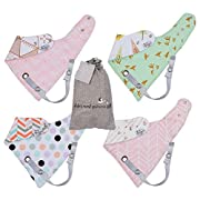 Baby Bandana Drool Bibs for Girls – Leash Attachment for Teething Toys or a Pacifier. Set of 4 Reversible Burpy Bibdanas. Perfect Unique Shower Gift Sets! Newborn and Toddler.