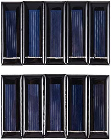 Jaimenalin 10 Stueck Solar Panel neue 0.5V 100mA Solarzellen Photovoltaik Modul Sonnenkraft Ladegeraet DIY 53 * 18 * 2,5 mm