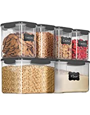 Airtight Food Storage Containers with Lids [6 Piece] BPA Free Plastic Kitchen Pantry Storage Containers - Dry Food Storage Containers Set for Pasta, Cereal, Flour, Sugar, Coffee, Rice, Nuts, Snacks.