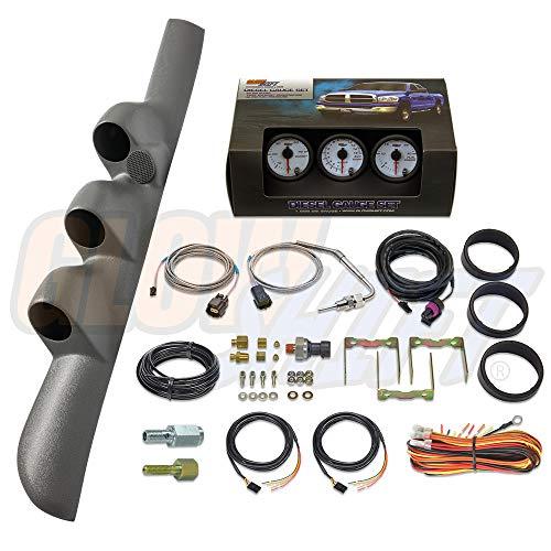 GlowShift Diesel Gauge Package for 1998-2002 Dodge Ram Cummins 1500 2500 3500 - White 7 Color 60 PSI Boost, 1500 F Pyrometer EGT & 30 PSI Fuel Pressure Gauges - Gray Triple Pillar Pod w Speaker Cutout