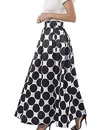 NINEWE Women's High Waist Polka Dots Print Long Pleated Skirt Blackpot US12
