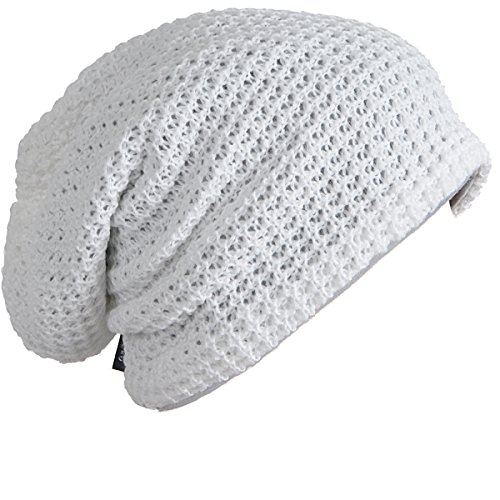 White Hat Slouch - FORBUSITE Mens Slouchy Long Oversized Beanie Knit Cap for Summer Winter B08 (White)