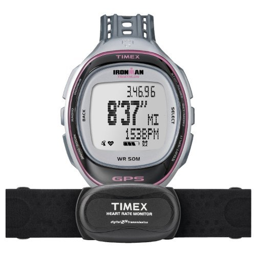 13438a9845ab Timex T 5K630 F7 Ironman Run Trainer Reloj GPS con HRM - Silver   Pink ~  Elite  Amazon.es  Deportes y aire libre