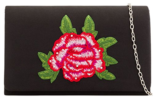 Clutch Bag Girly Girly Black HandBags HandBags Embroidered Rose wX7Z44R