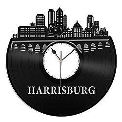 VinylShopUS - Harrisburg Vinyl Wall Clock City Skyline Unique Gift Office Room| Home Decoration