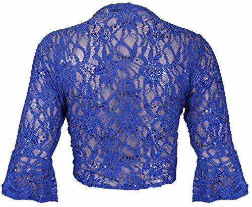 Rebeca torera 3/4 de manga corta para mujer azul cobalto